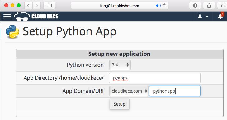 Langkah 3: Konfigurasi Python di Cpanel Hosting CloudKece