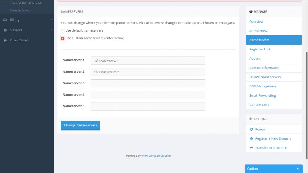 Langkah-langkah setting nameserver domain di CloudKece